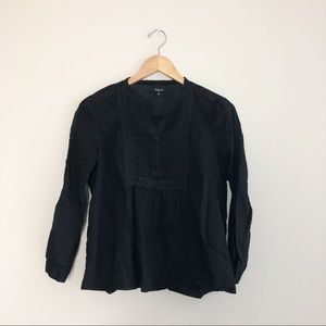 Madewell | Black Eyelet Peasant Voile Blouse